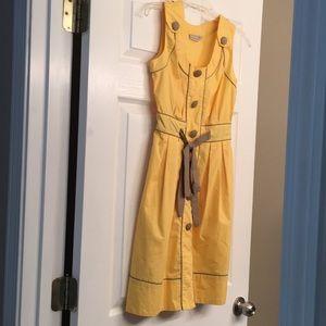 Yellow & Tan XS size 2 Dress eShakti Tie Front